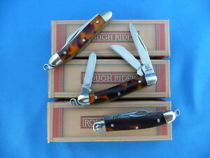 Rough-Rider-Miniature-Stockman-Knife-Imit-Tortoise-Stainless-RR812-Lot-of-Three