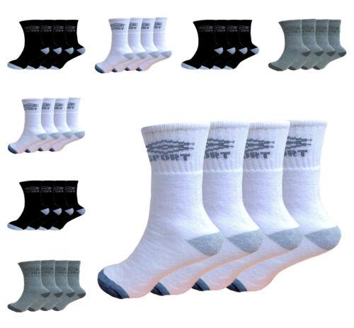 12 PAIRS MENS PLAIN CLASSIC SPORTS SOCKS COTTON RICH THICK BLACK WHITE GREY 6-11