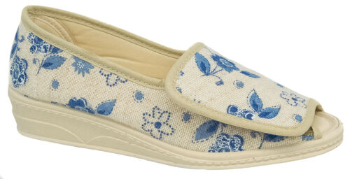 Womens Ladies Touch Fastening Slippers Beige Floral Mirak Sizes 3 to 8