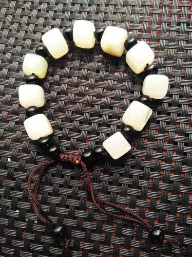 Natural jadeite white jade hand-knitted retractable bracelet AAA
