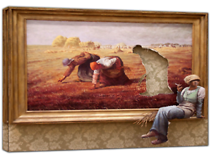 BANKSY KIDS PAINTING  PRINT ON FRAMED CANVAS PICTURES  WALL ART HOME DECORATION