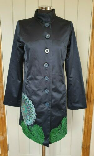 Desigual Dark Blu E Verde In Raso Look Trench Taglia 40 UK 12 Imbuto Mehndi