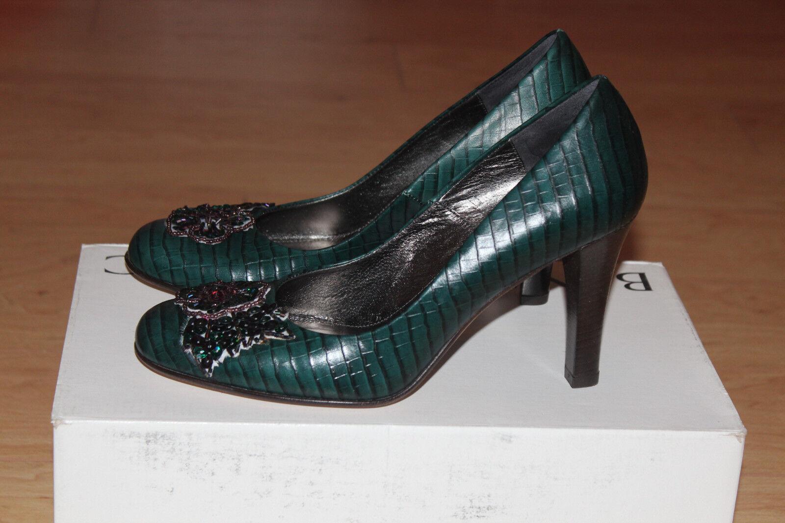 Banana Republic Piper Leder Heels Schuhes Größe 6.5 NIB Made in  Teal Farbe