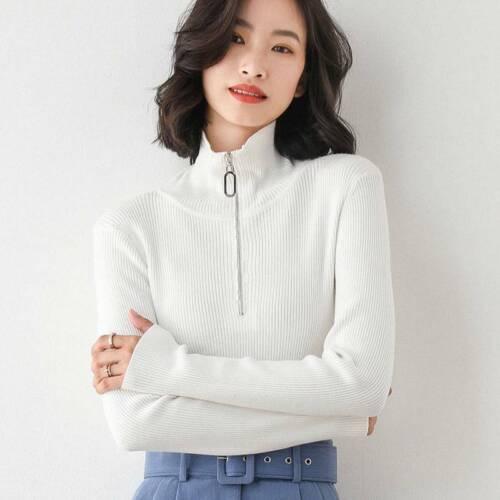 Autumn//winter bottomed slim zipper knitted temperament Sweater women high collar