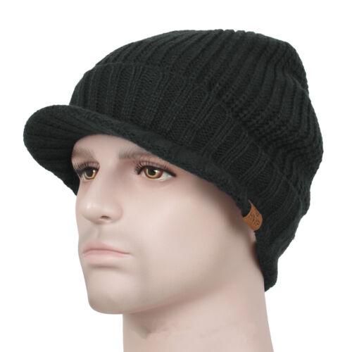 Men/'s Winter Wool Blend Visor Brim Beanie with Bill Knit Baseball Cap Skull Hat