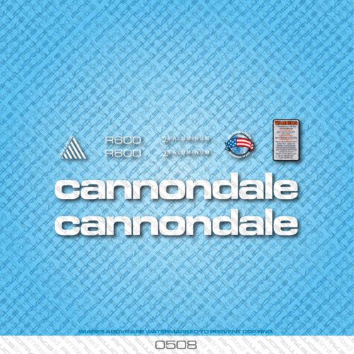 Cannondale R600 bicyclette decals-transfers-autocollants-blanc set 0508