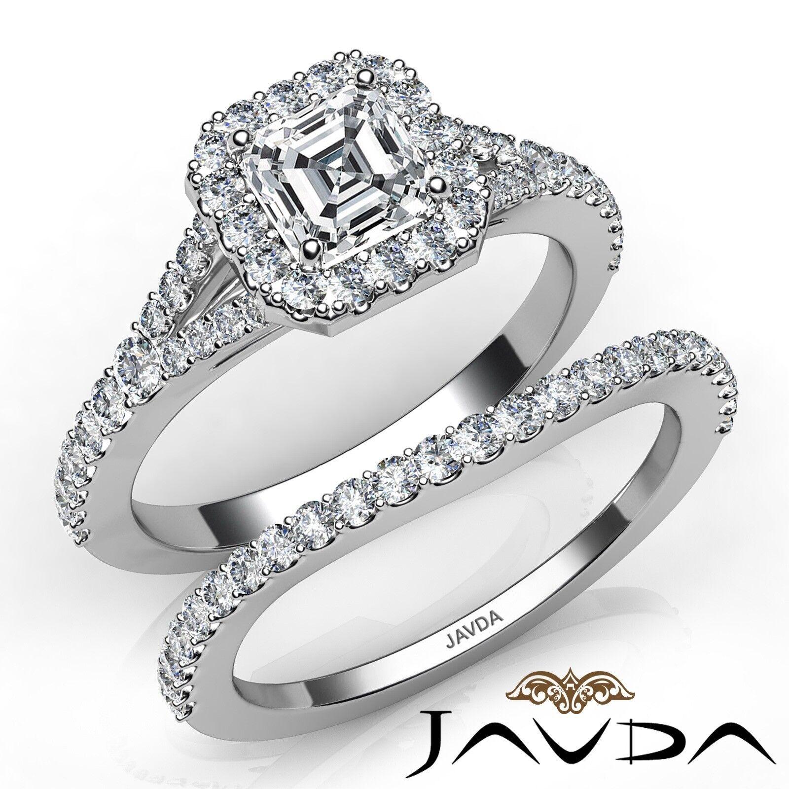 1.41ctw Split Shank Halo Pave Bridal Asscher Diamond Engagement Ring GIA D-VS1