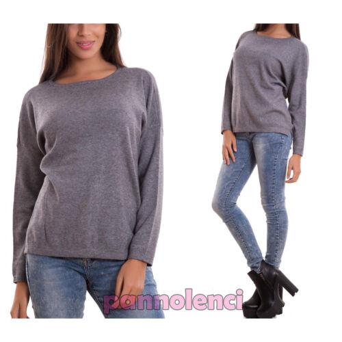 Maglione donna pullover taglio morbido manica lunga zip nuovo 8245-MOD