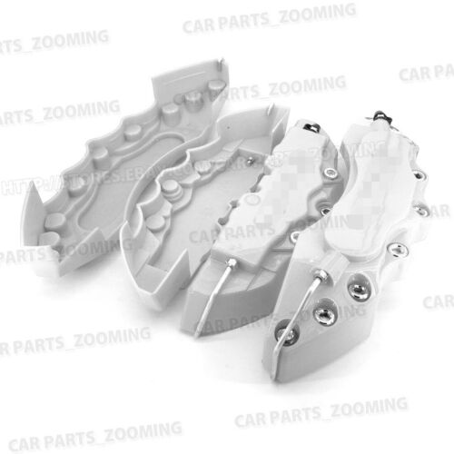 """3D Brake Caliper Covers Style Disc Universal Car Front Rear 4Pc Silver 10.5/"""" CY2"""