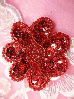 JB175 Floral Red Beaded Sequin Applique Flower Patch for Sewing and Crafts 2""
