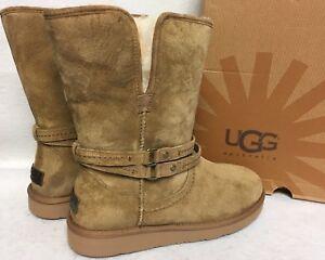 ef21b61661b Details about UGG Australia PALISADE Chestnut Short Boots Suede Sheepskin  Womens 1007700