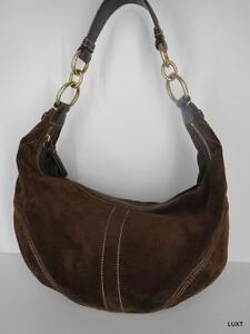 Coach-Hobo-Handbag-Purse-Sz-M-Suede-Chocolate-Brown-Zip-Top-Shoulder-Chain-Strap