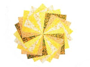 """10 10"""" Quilting LAYER CAKE Squares Sunshine Yellow BUY IT NOW 5 PRINTS-2 OF EACH"""