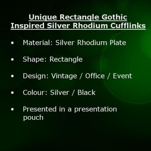 Rectángulo única de Plata Rodio Gemelos gótico inspirado por Gemelos directo