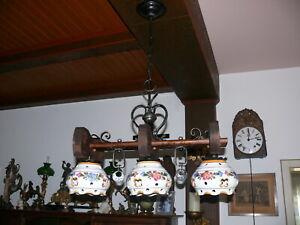Dekorative-grosse-Lampe-Deckenlampe-Balkenlampe-massiv-Holz-3-flammig