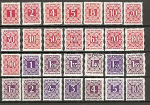 Briefmarken Österreich Ab 1945 Collection Here 1949/57 Sonderpreis Ziffernzeichnung Im Quadrat Postfrisch ** Mnh Ank 232-259 Unequal In Performance