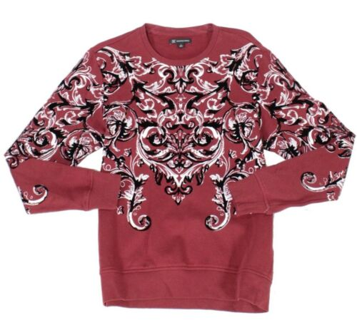 INC Mens Sweater Apple Red Size XL Crewneck Scroll Print Pullover $65 051