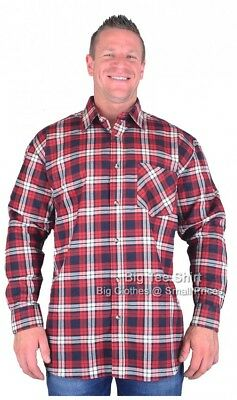 Mens Cotton Valley Big Size Brushed Cotton Long Sleeve Check Shirt 2XL 4XL 5XL