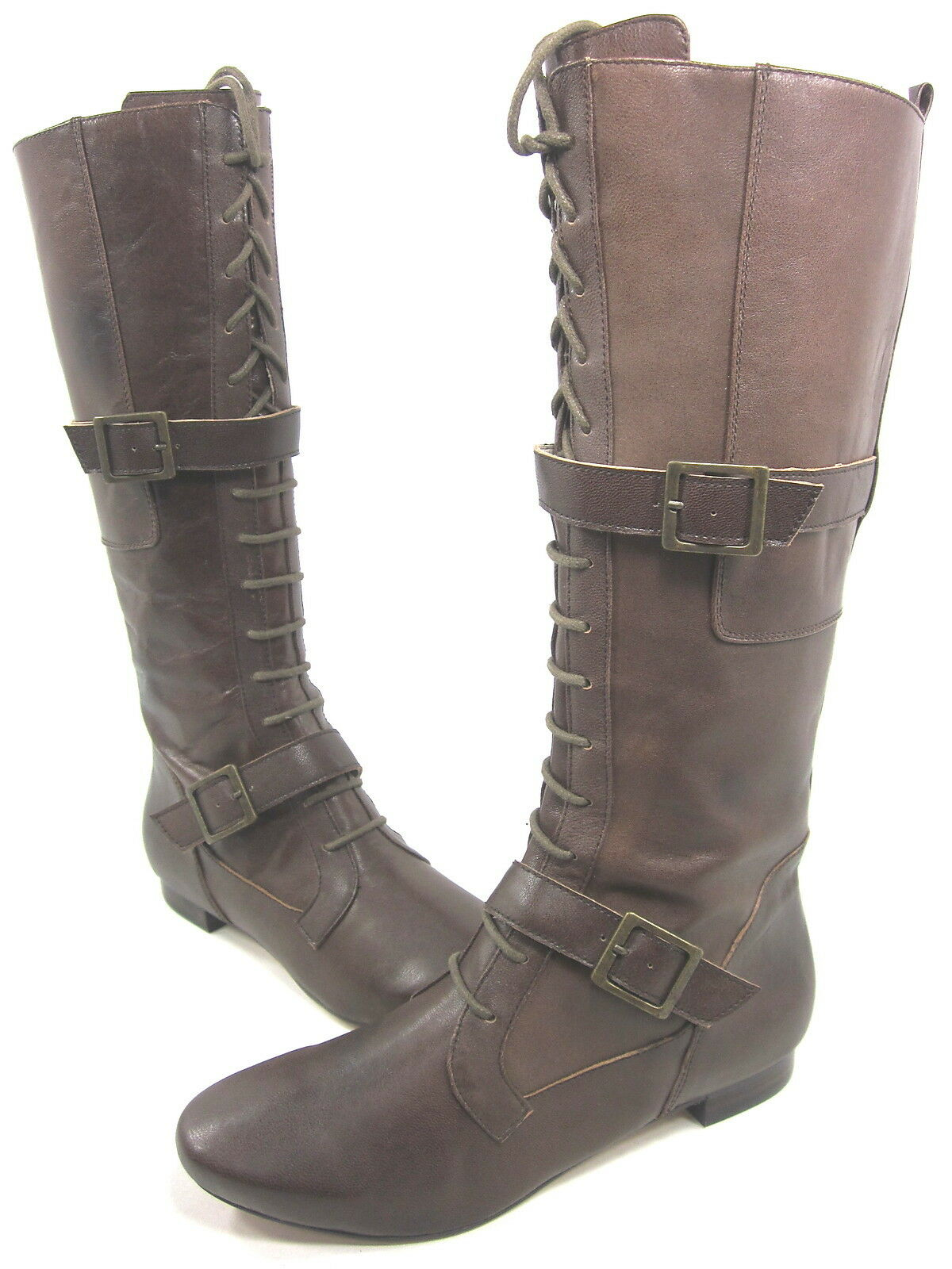 FARYLROBIN, LANCE, KNEE-HIGH BOOT, Donna, BROWN, US 8M, LEATHER, NEW W/O BOX