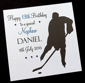 Image Is Loading Personalised Icehockey Birthday Card Brother Son Grandson Nephew