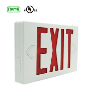 Emergency-LED-Lighting-Fixture-Universal-Exit-Sign-Battery-Backup-Red-Letters