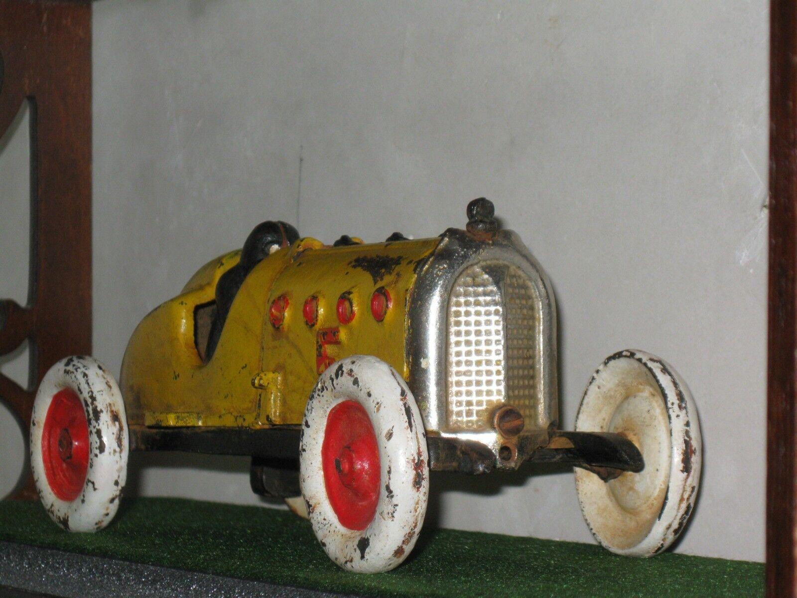 Vintage HUBLEY  5 Race Cast Iron RACER CAR   ORIGINAL & STRONG