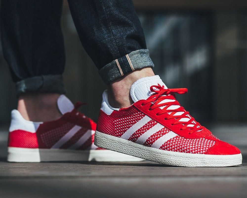 BNWB & AUTHENTIQUE Adidas Originals ® Gazelle Primeknit Rouge Baskets Taille UK 7.5