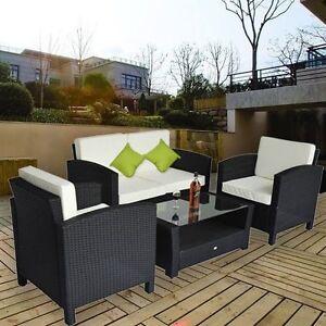 Outsunny set mobili da giardino in polyrattan 4pz tavolino divano e 2 poltrone ebay - Ebay mobili da giardino ...