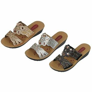 bf40c2578 Details about Women s Floral Rhinestones Gems Sandals Shoes Gold Silver  Black Sizes 6 -11 New