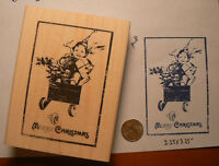 Merry Christmas Rubber Stamp Wm Antique Image 3.25x2.25 P18