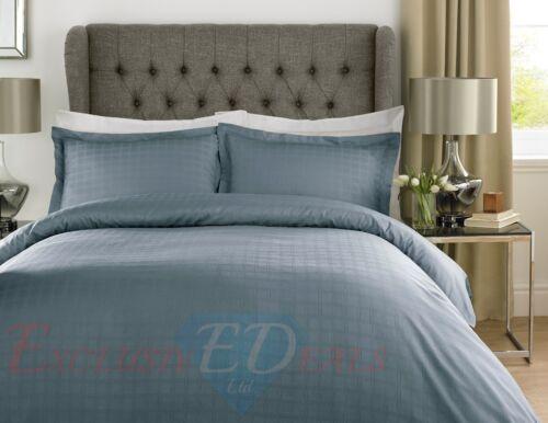 100/% COTTON SATEEN STRIPE CHECK 400TC Luxury Duvet Quilt Cover Bedding Set