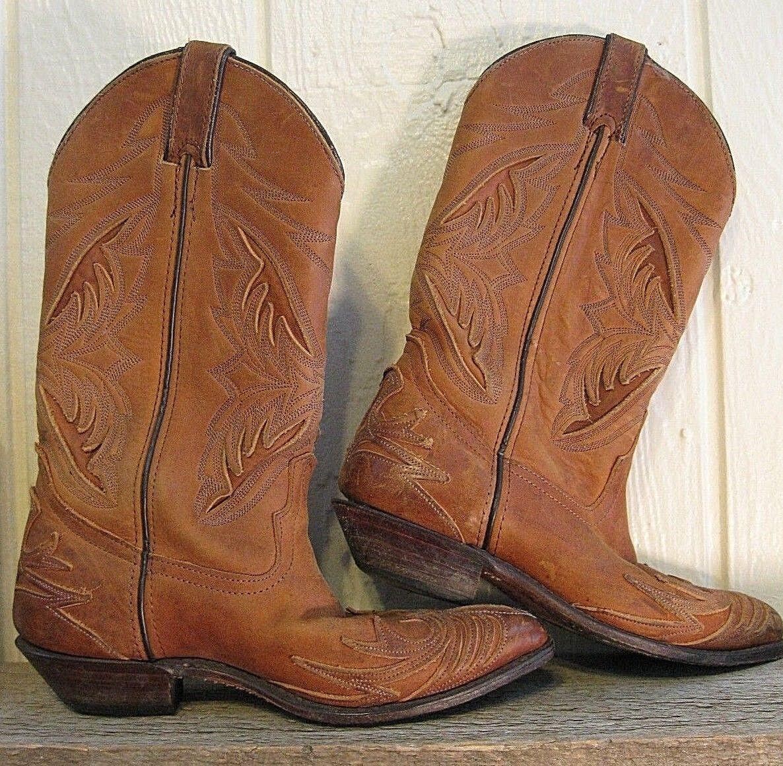 FANTASTIC CODE WEST--BROWN LEATHER COWBOY BOOTS--Women's Size 6 1/2 M