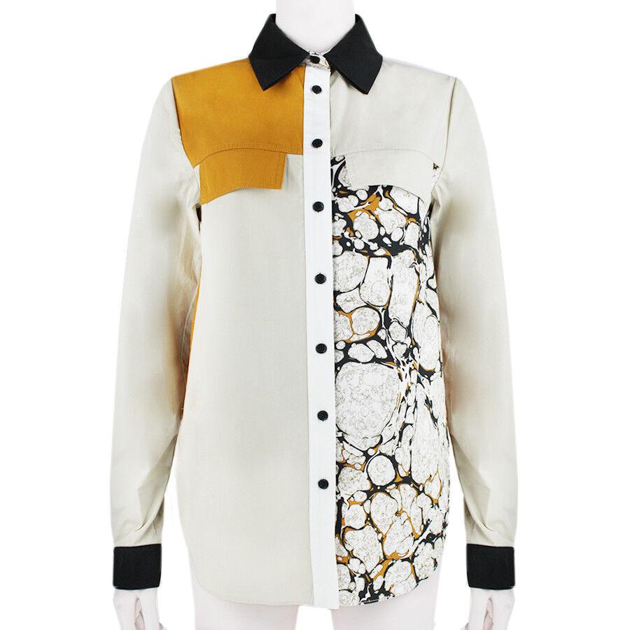 Proenza Schouler schwarz Orange Colour Block Marbled Shirt Blouse US4 UK8