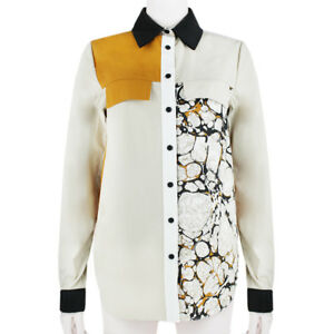 Proenza-Schouler-Black-Orange-Beige-Colour-Block-Marbled-Shirt-Blouse-US2-UK6