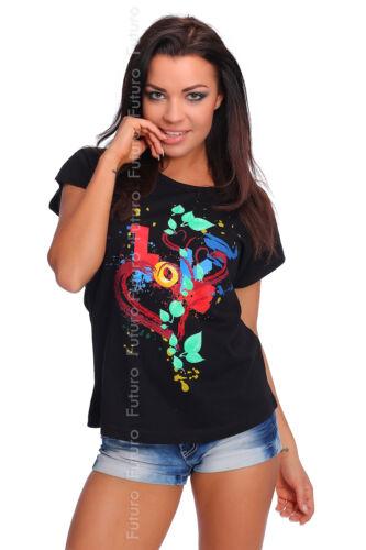 T-Shirt Top Love Print Crew Neck Short Sleeve Cotton Casual Sizes 8-14 FB110