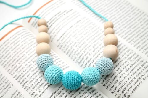 Aqua Blue Teething Necklace - Nursing necklace - Babywering Breastfeeding beads