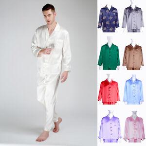 Men s 100% Mulberry Silk Pajama Sets Sleeping Shirts   Lounge Pants ... 9c6cc25ad