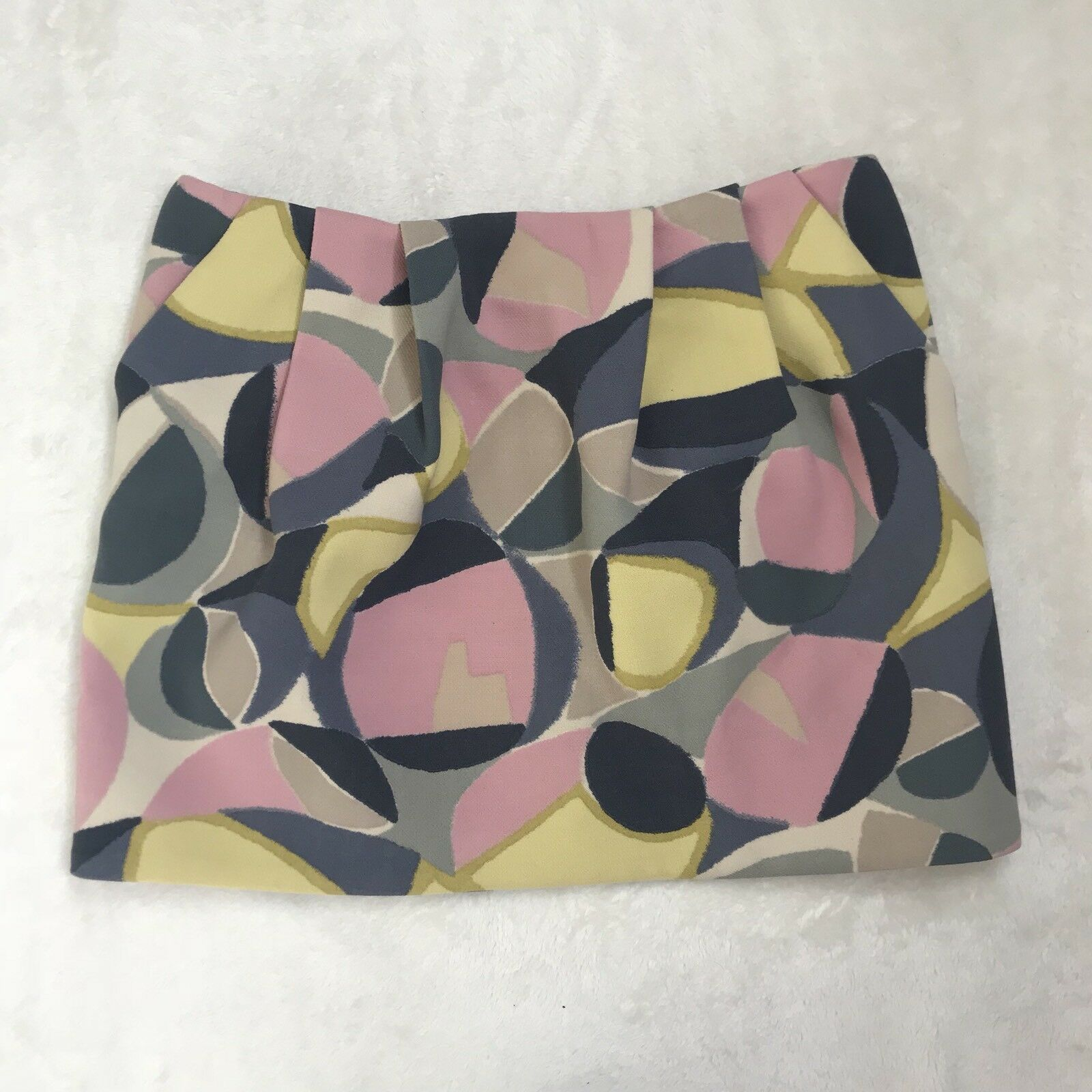 Marni 44 8 Pink Geometric Mod Pattern Printed 100% Wool Pleated Mini Skirt