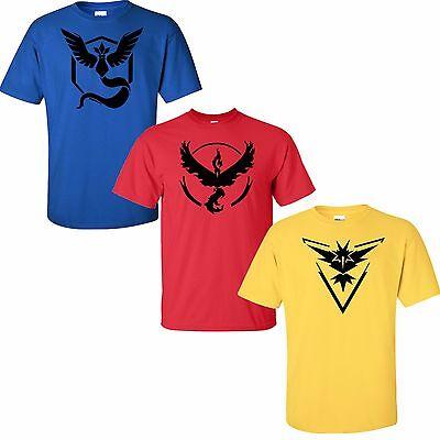 Pokemon Go Team Valor Team Mystic Team Instinct Pokeball T shirt Red Blue Yellow