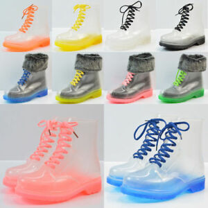 Clear-Rain-Ankle-Boots-Jelly-Martin-Lace-up-Flat-Rubber-Wellies-Rainshoes-Womens