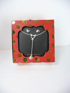 Heart-Pendant-Necklace-Earrings-Set-Silver-Tone-USA-Seller