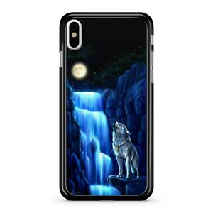Majestic-ululare-Mountain-Top-WOLF-Elegante-CASCATA-FULL-MOON-Telefono-Case-Cover