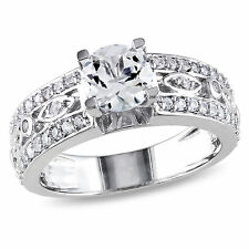 Sterling Silver Created White Sapphire Engagement Ring