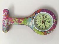 First Hand Healthcare Therapist Nurse Tie Dye Print Pink Round Silicone Watch