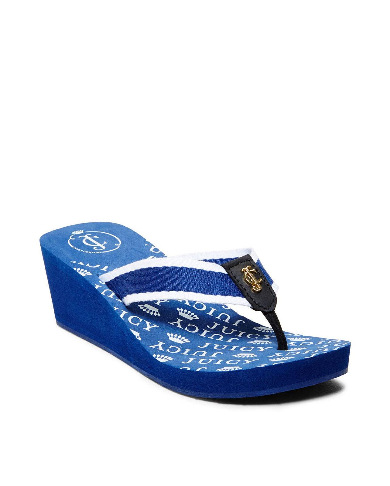 Juicy Couture Regal Azul Cuña Sandalias Flip con con con Cierre magnético de Christy  69.00 Talla 10 BNWT  sorteos de estadio