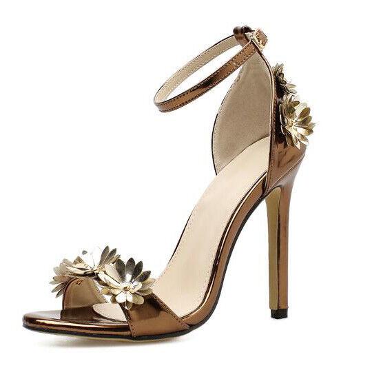 Sandale stiletto eleganti sabot 11 cm oro ciabatte simil pelle eleganti CW858
