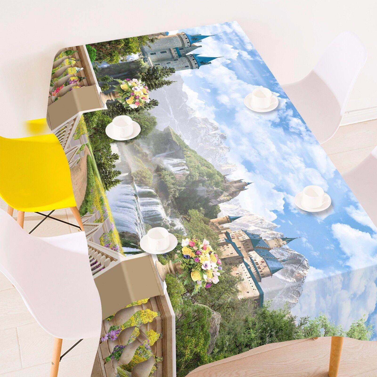 3D Castle Tablecloth Table Cover Cloth Birthday Party AJ WALLPAPER UK Lemon