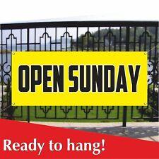 Open Sunday Banner Vinyl Mesh Banner Sign Flag Many Sizes Weekends Hours