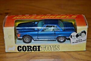 Corgi 393 Bleu foncé Mercedes Benz 350sl, Boîte à photos d'origine en superbe état