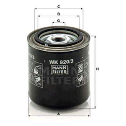 MANN WK920//3 Filtre à carburant Spin sur 97 mm hauteur 93 mm Diamètre extérieur service